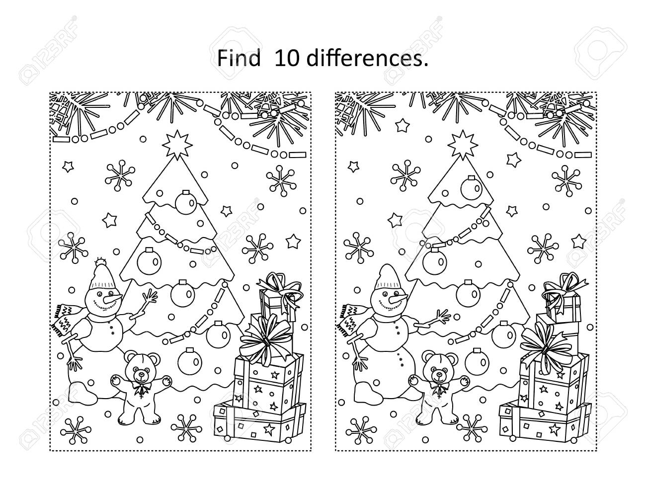 Winter holidays, New Year or Christmas themed find the ten differences picture puzzle and coloring page with christmas tree, tedyy bear, snowman, gift boxes - 158352112
