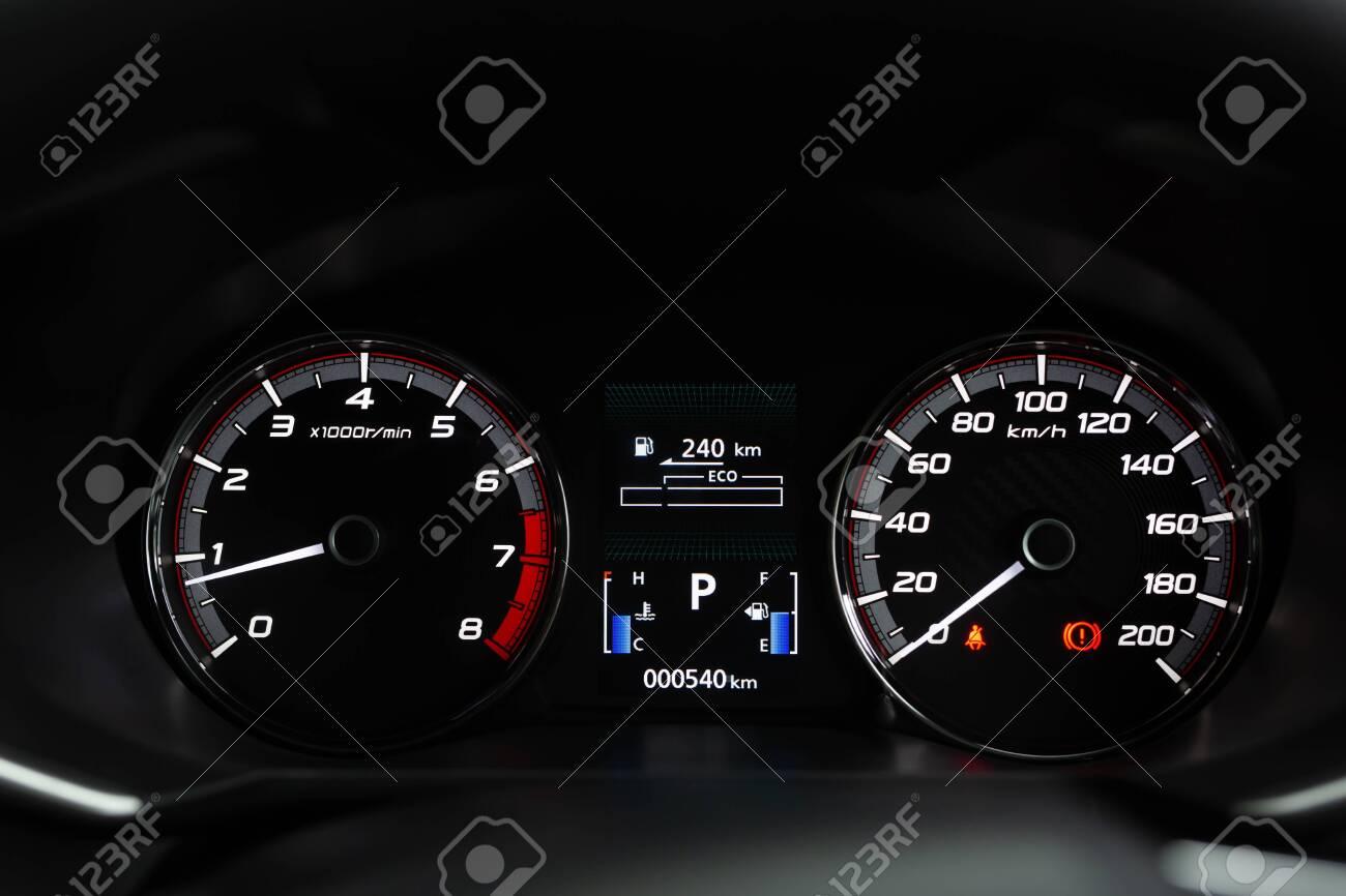 close up modern mileage car dashboard instrument panel interior