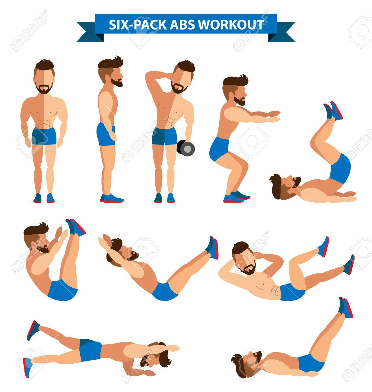 Six Pack Abs Workout For Men Exereise At Home Stock Vector