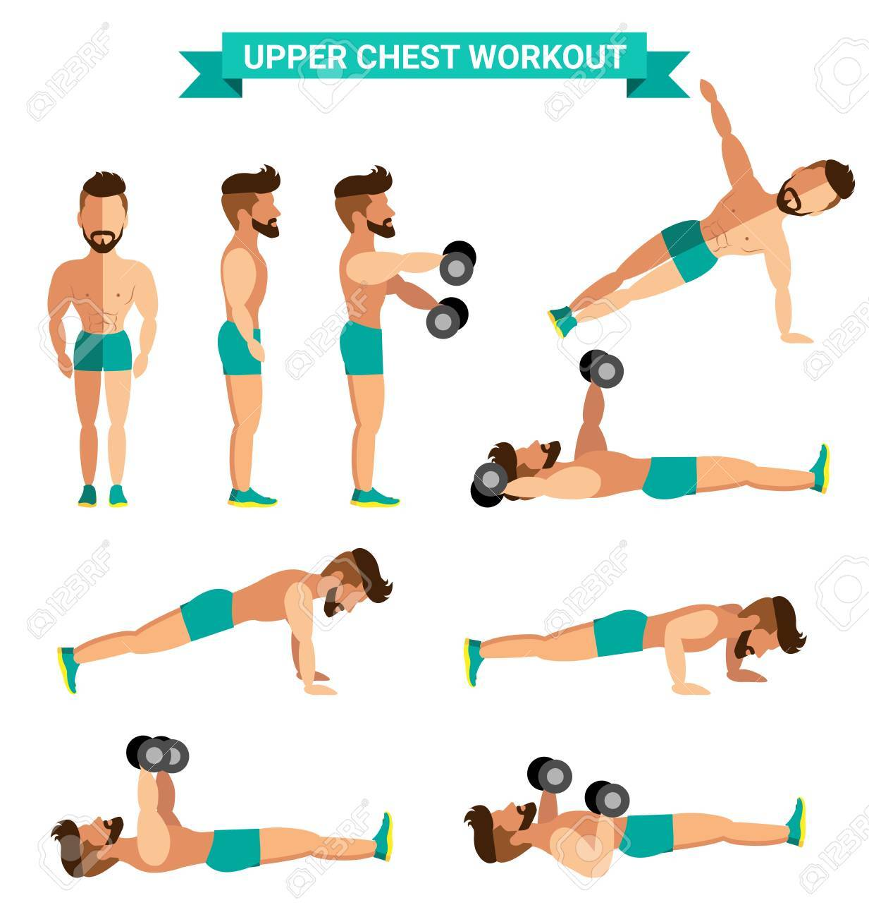 The Best Upper Chest Workout For Men Exereise At Home Stock Vector