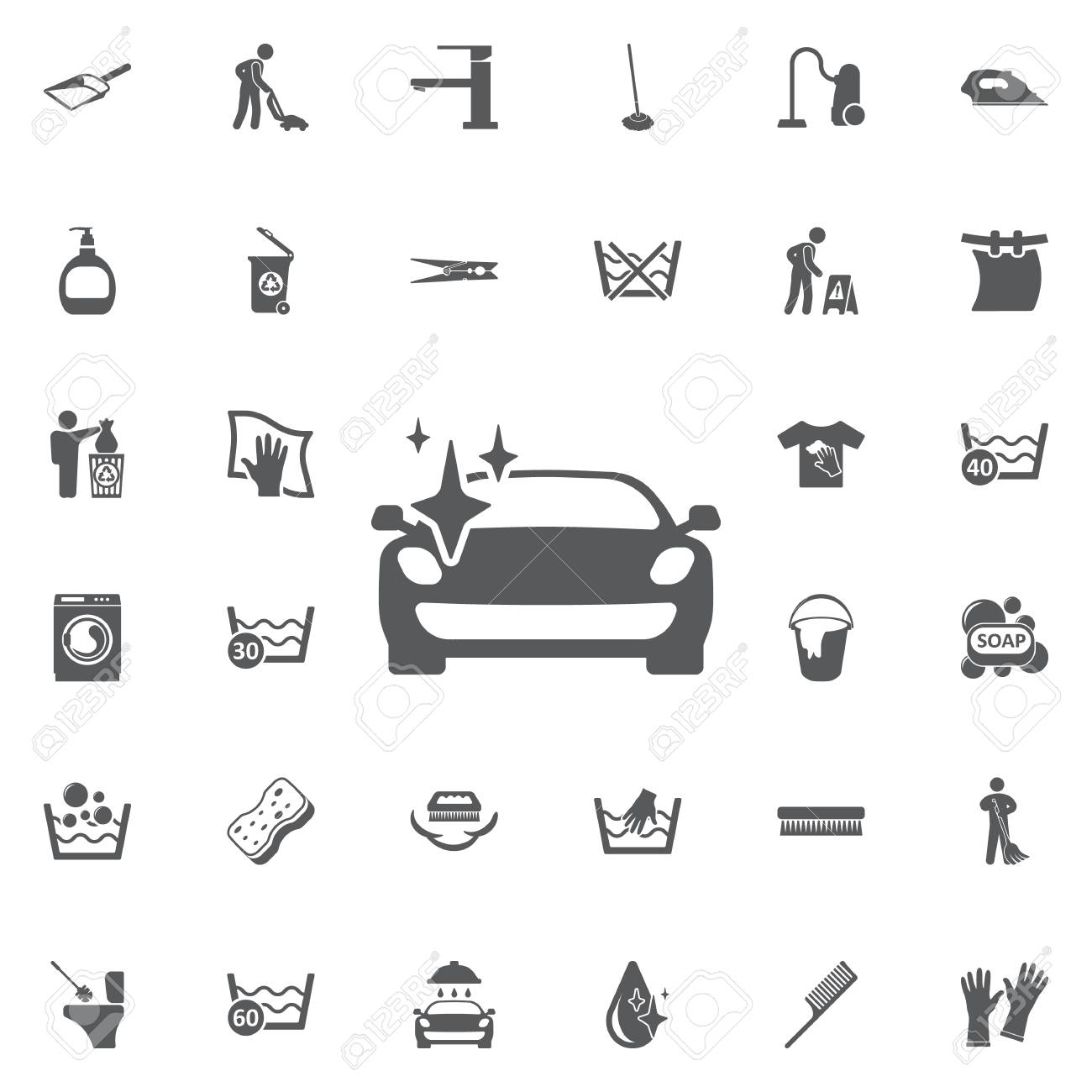 clean car with a sparkle icon on the white background set of