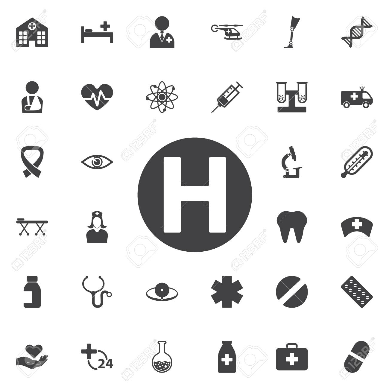 Helicopter landing pad icon isolated on background  Modern flat,