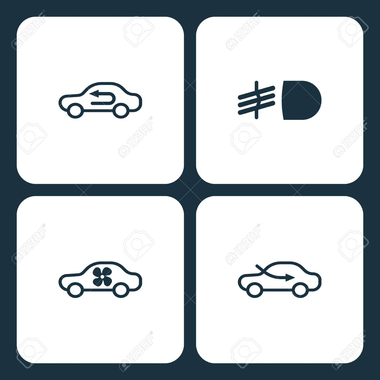 Vector Illustration Set Car Dashboard Icons Elements Air Control - Car image sign of dashboardcar dashboard icons stock images royaltyfree imagesvectors