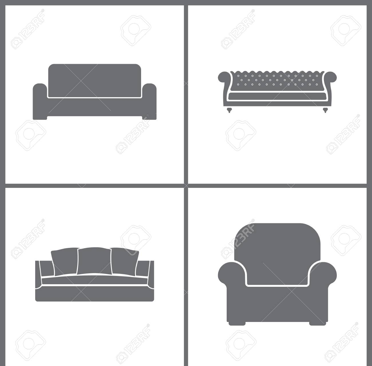 Vector Illustration Set Office Furniture Icons Elements Of Sofa