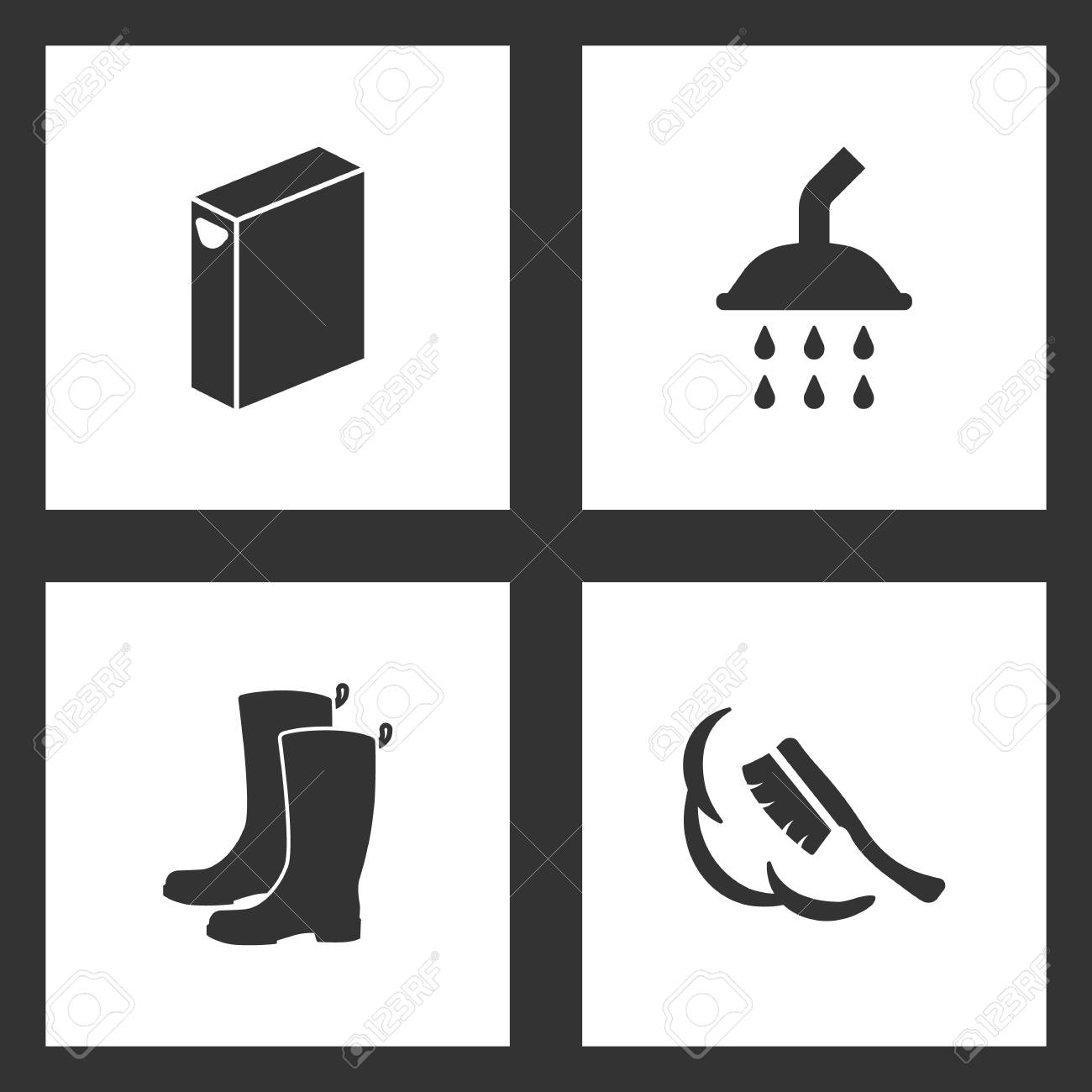 5734171b19 Vector - Vector Illustration Set Cleaning Icons. Elements of Washing powder  box
