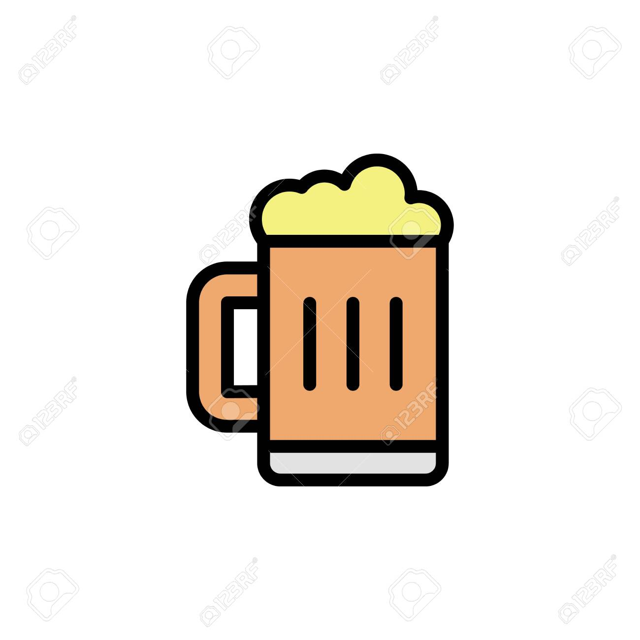 Beer glass colored icon. Simple color element illustration. Beer glass concept outline symbol design from Bar set. Can be used for web and mobile on white background - 150310434