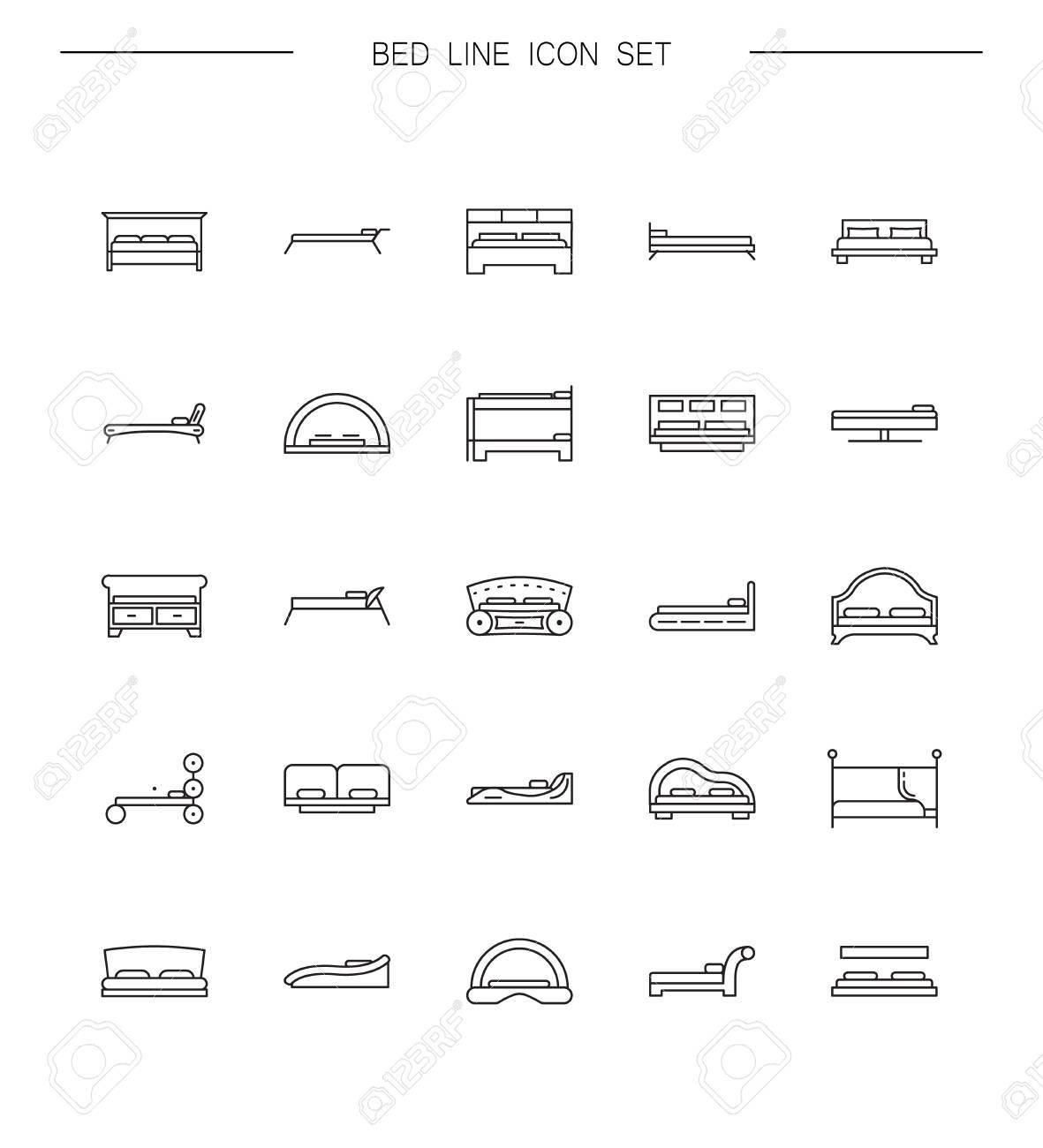 Sito Per Progettare Casa set letti linea di icona. raccolta dei pittogrammi di alta qualità dei  mobili di casa. outline simboli vettoriali per progettazione di siti web o  app