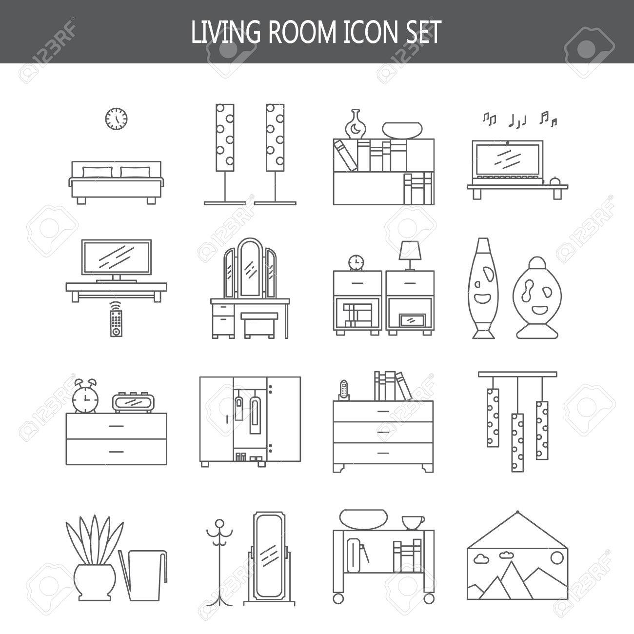 Bedroom icon set collection of high quality outline pictograms collection of high quality outline pictograms of elements for bedrooms interior biocorpaavc Gallery