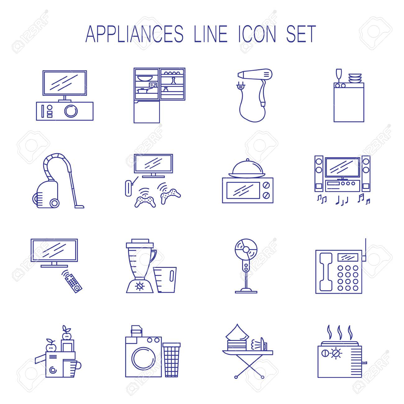 Appliances Line Icon Set Collection Of Vector Symbols On The