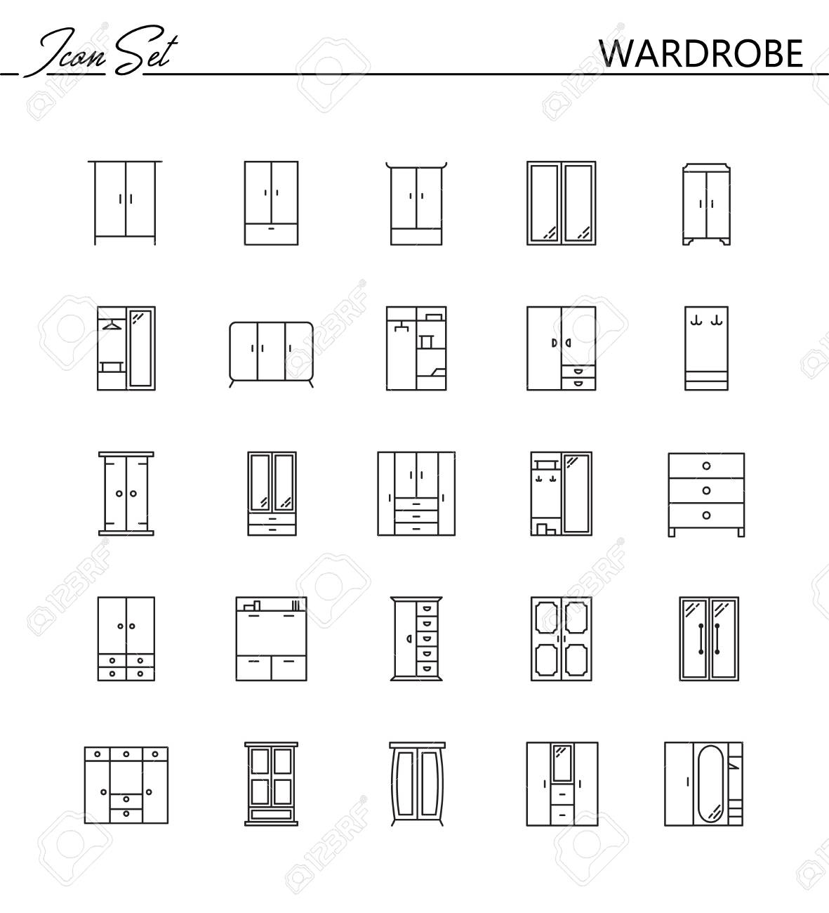 Wardrobe line icon set collection of high quality pictograms collection of high quality pictograms of wardrobe for homes interior buycottarizona Image collections