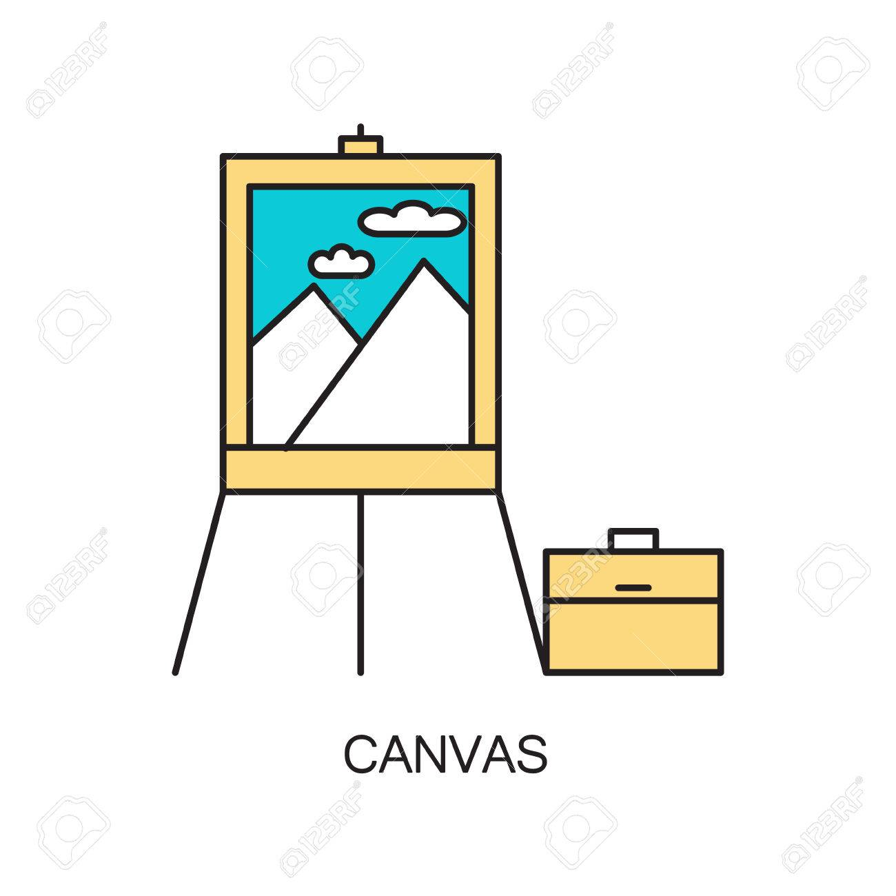 Canvas line icon single high quality outline interior or single high quality outline interior or technological pictogram for composition of childrens ccuart Images