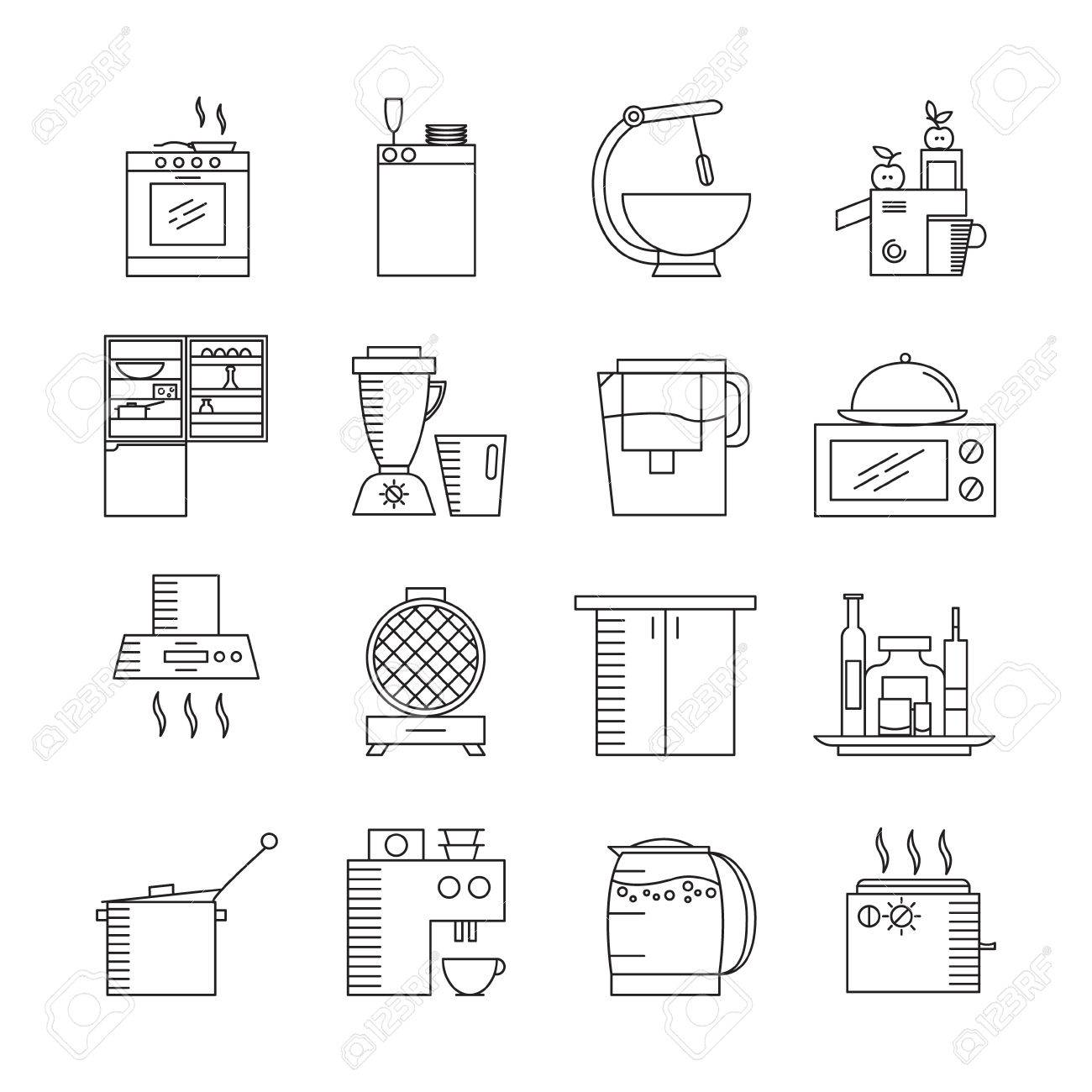 Kitchen Appliances Icon Set. Collection Of High Quality Outline Elements On  The Topic Of Kitchen