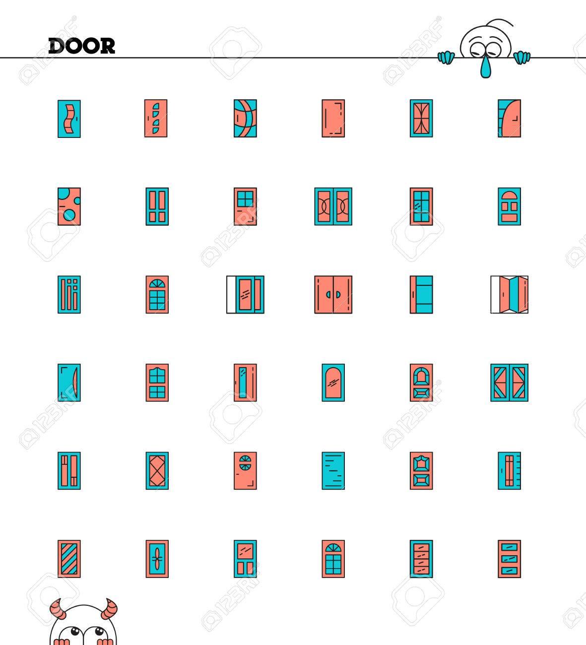 Sito Per Progettare Casa insieme dell'icona linea di porta. collezione pittogrammi di alta qualità  dei mobili di casa. outline simboli vettoriali per progettazione di siti  web