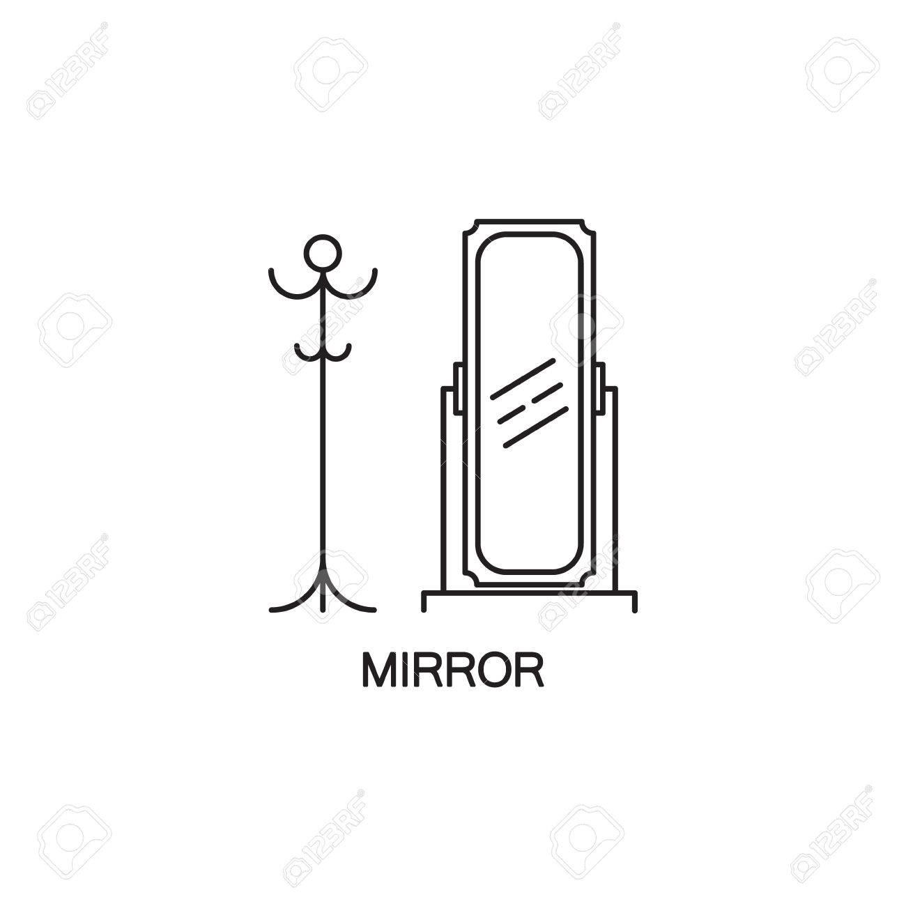 specchio icona piatta. pictogram profilo di alta qualità di ... - Specchio Per Camera Da Letto