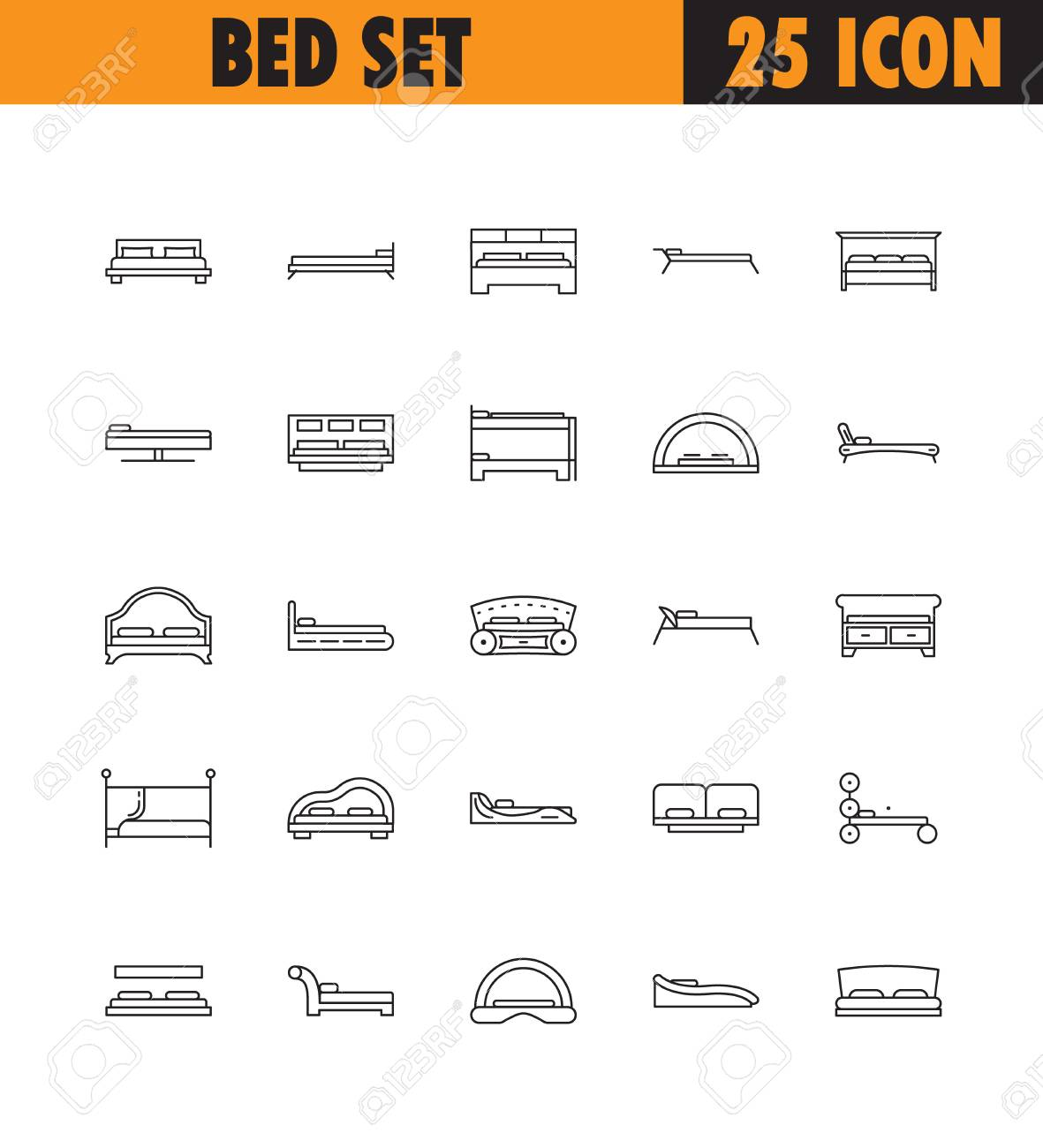 Beds line icon set collection of high quality pictograms of collection of high quality pictograms of homes furniture outline vector buycottarizona Image collections