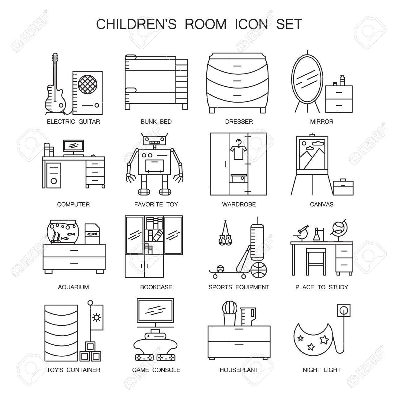 Kinderzimmer-Icon-Set. Sammlung Von Hoher Qualität Umreißen ...