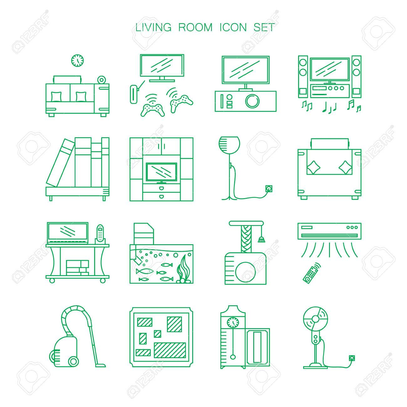 Living Room Furniture And Appliances Icon Set. Collection Of.. Stock ...