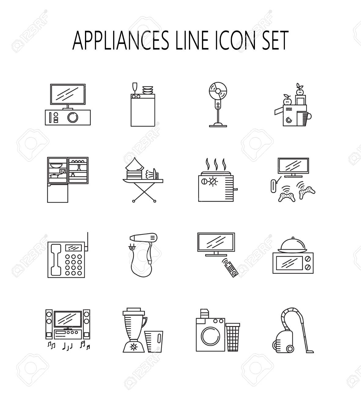 Appliances Line Icon Set. Collection Of Vector Symbols On The ...