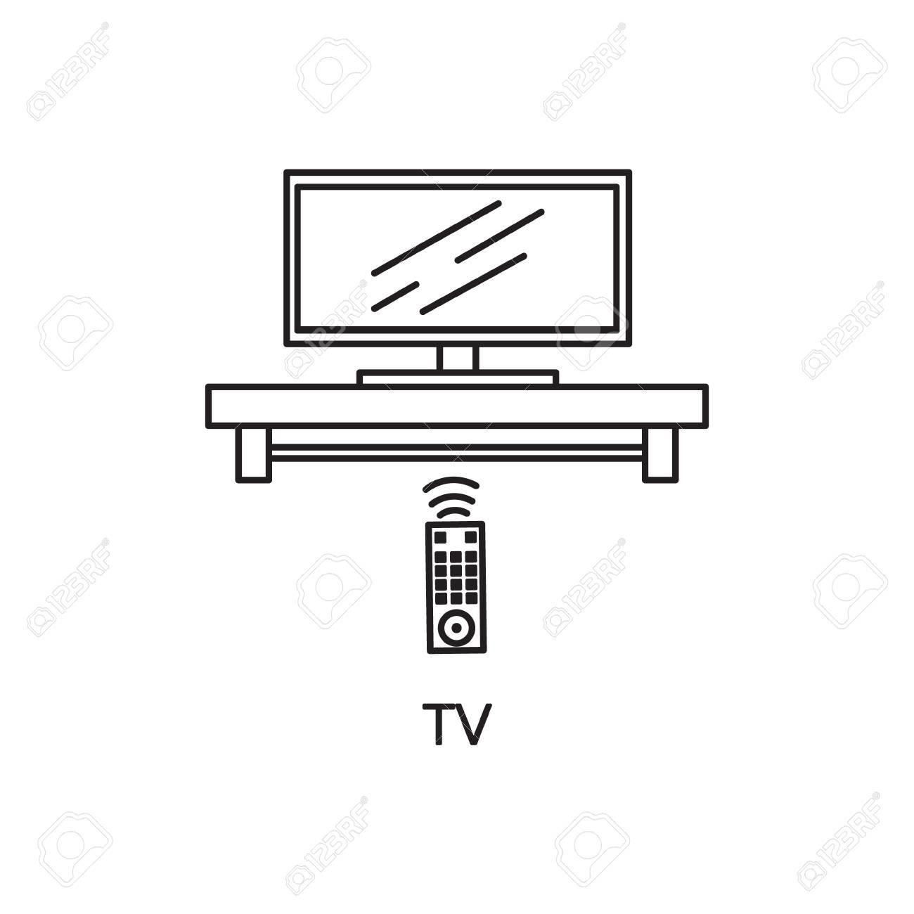 TV Flach Symbol. Hochwertige Umriss Piktogramm Element Für ...
