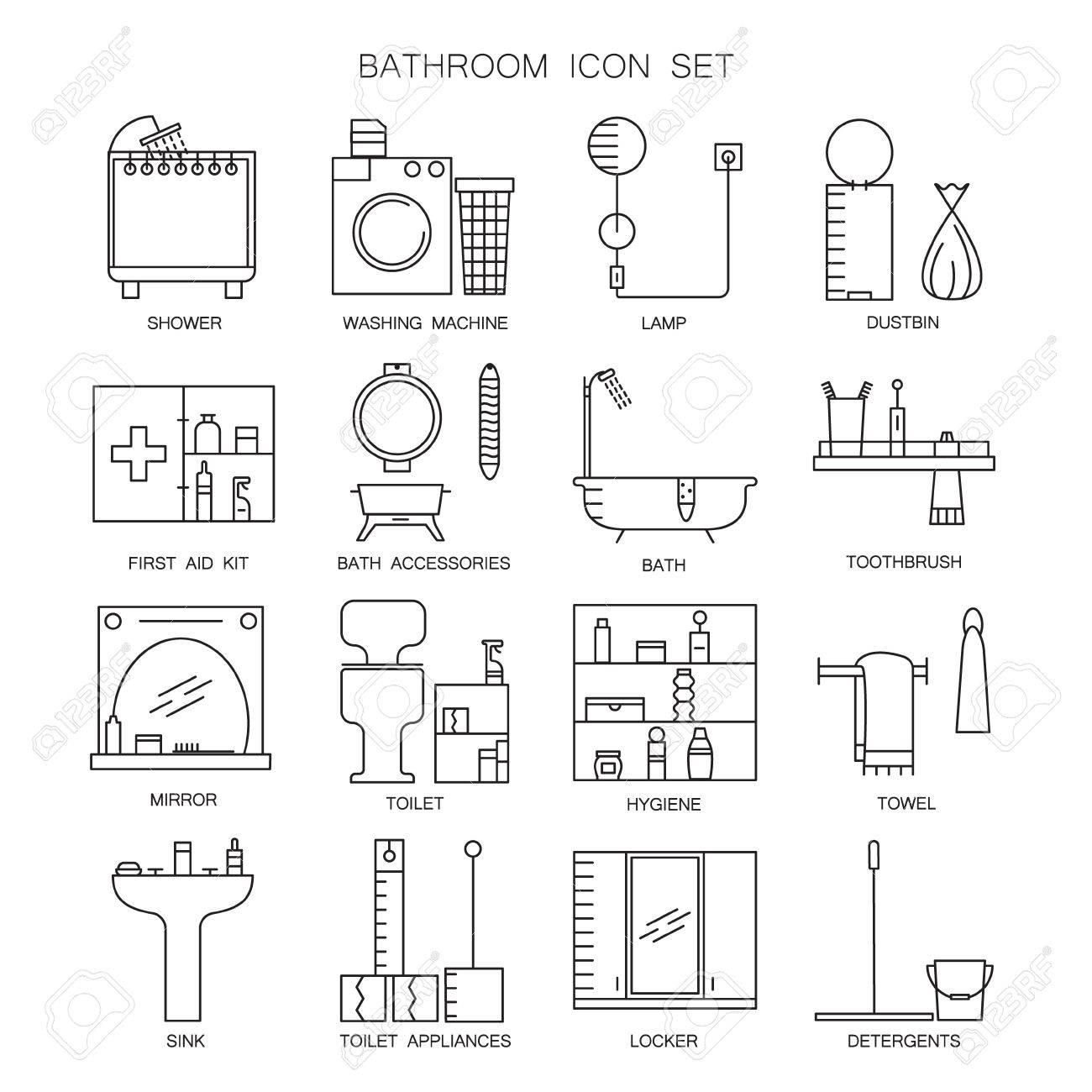 Stickers Salle De Bain Zen ~ Salle De Bains Icon Set Collection De Contours Vectoriels