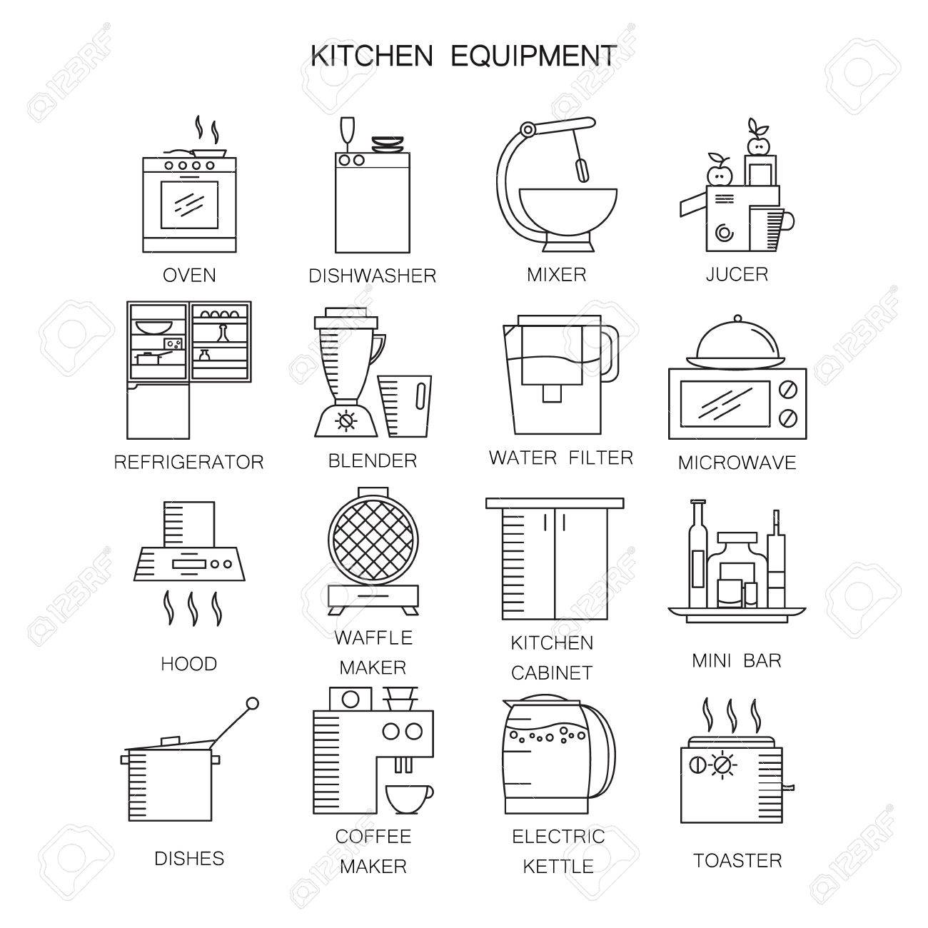 Kitchen Appliances Icon Set Collection Of High Quality Outline Stock Photo Picture And Royalty Free Image Image 65592207