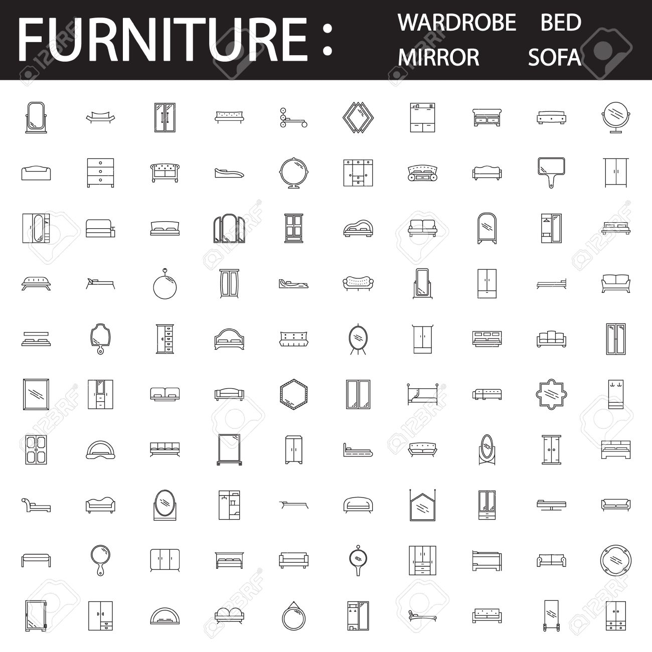 Furniture line icon set collection of high quality thin collection of high quality thin pictograms for design homes interior buycottarizona Image collections