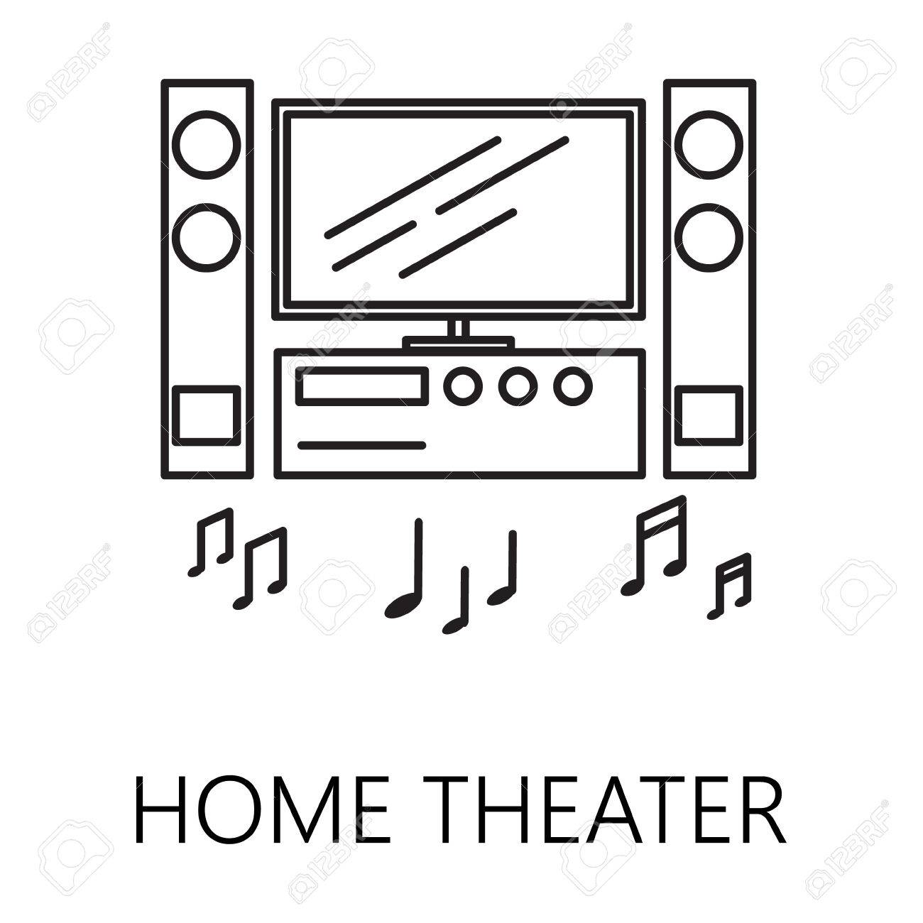 Home Theater Line Icon. Vector Symbol On The Topic Of Home ...