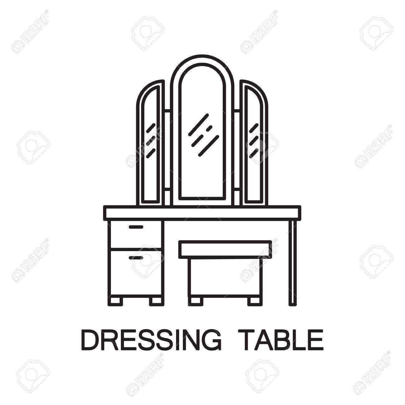 schminktisch flach symbol. hochwertige umriss piktogramm element, Schlafzimmer entwurf