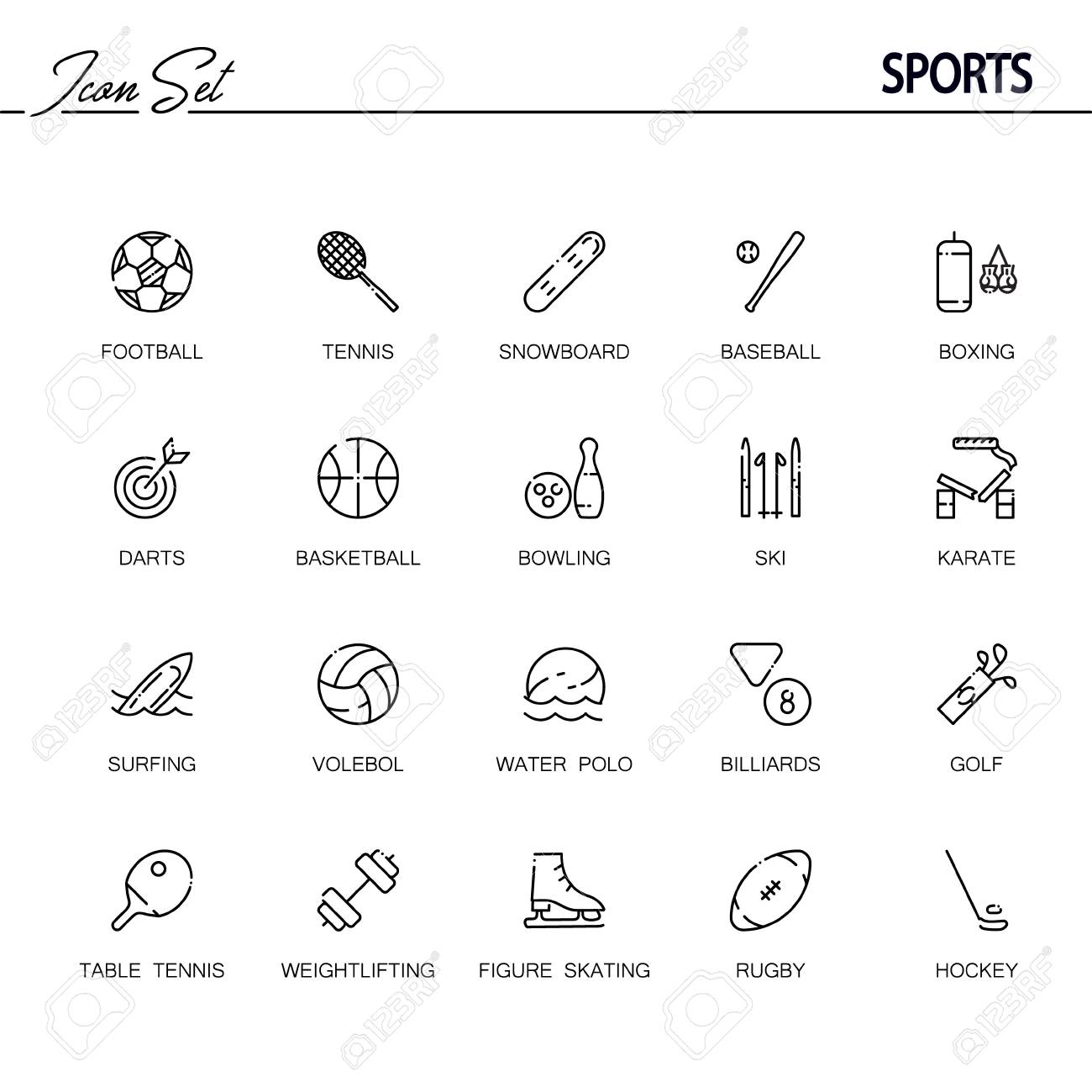 52fb1bd83 Conjunto De ícones Plana De Esportes. Coleção De 20 Símbolos De Contorno De  Alta Qualidade De Inventário De Esportes Para Web Design