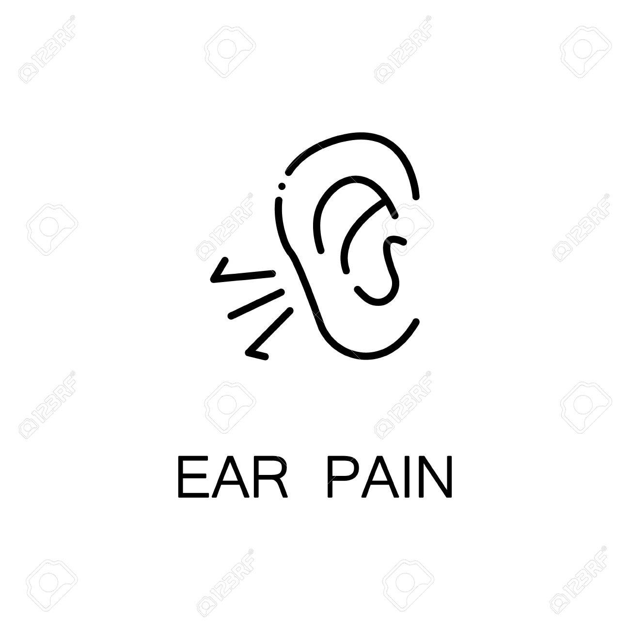 Ear Pain Flat Icon. Single High Quality Outline Symbol Of Illness ...