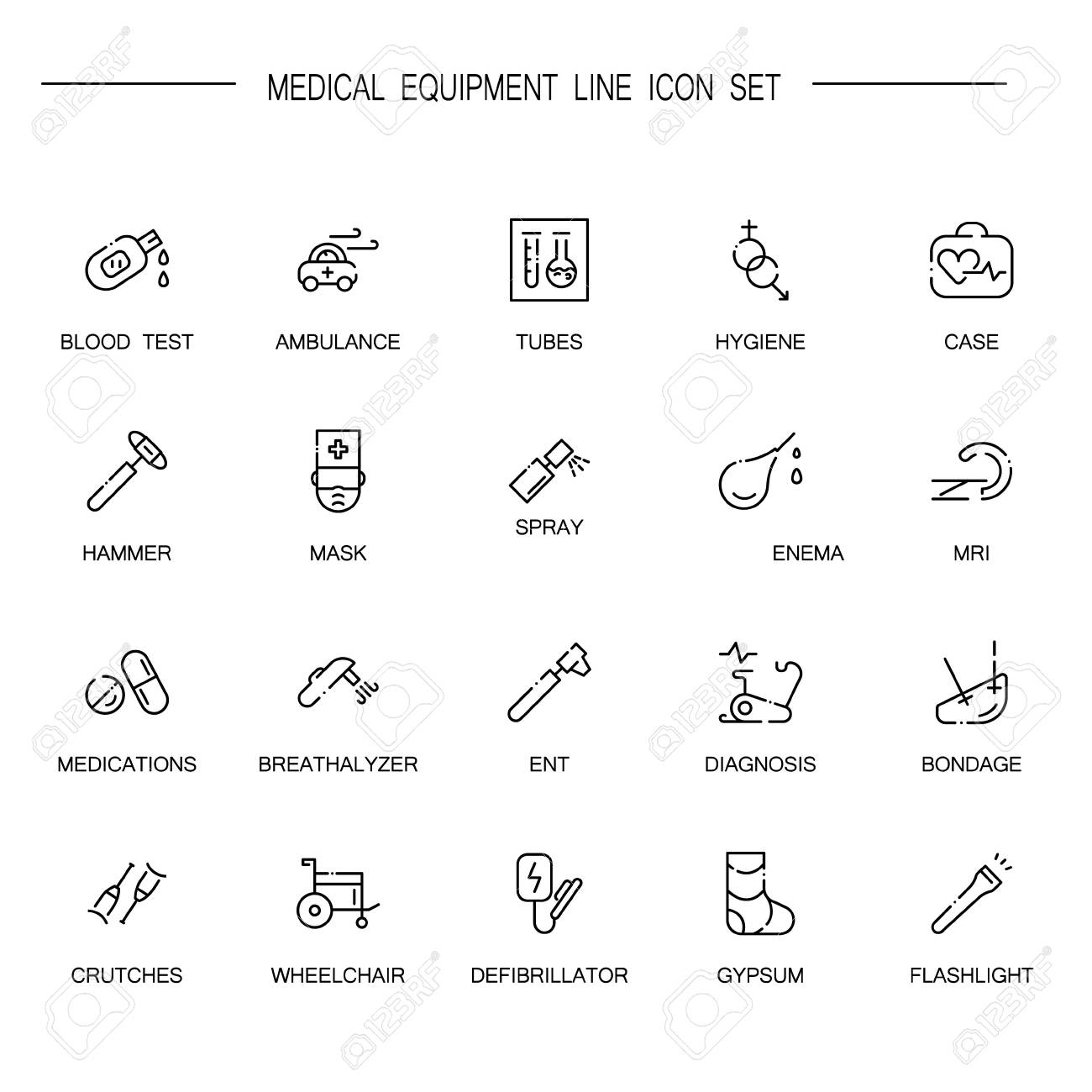 Medical equipment flat icon set collection of high quality outline medical equipment flat icon set collection of high quality outline symbols of medical equipment for biocorpaavc Choice Image