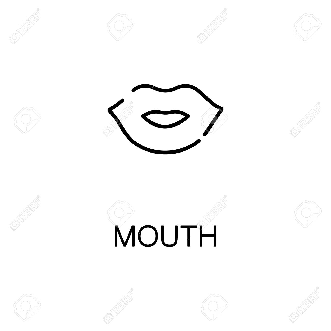 mouth flat icon single high quality outline symbol of human