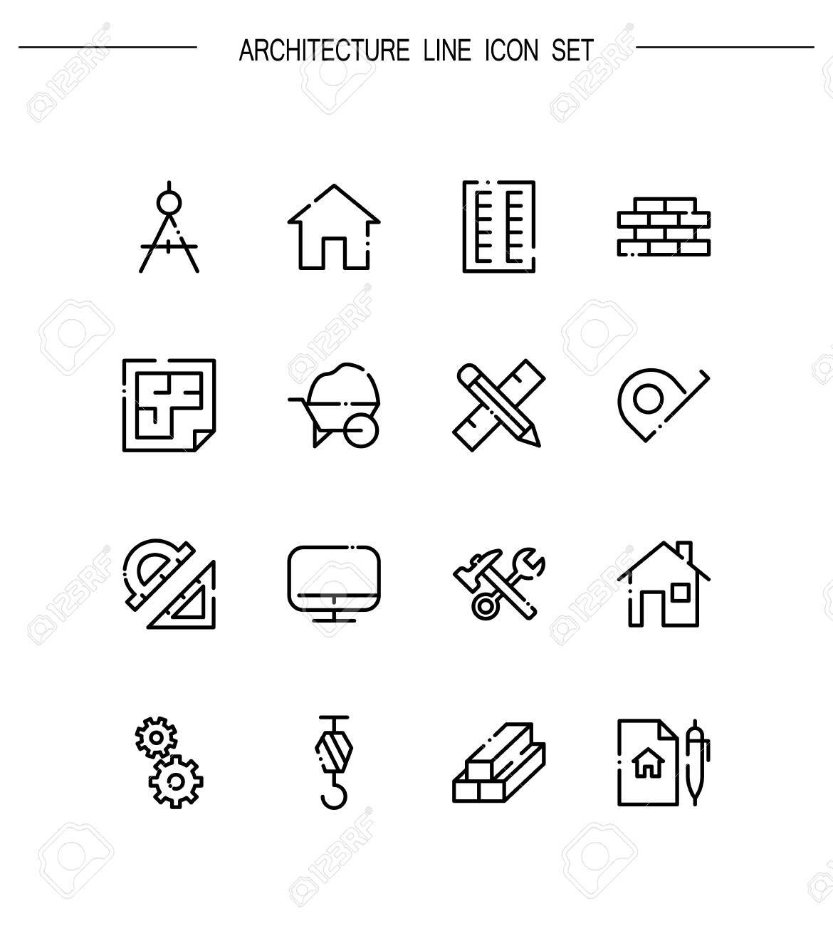Architecture Flat Icon Set Collection Of High Quality Outline
