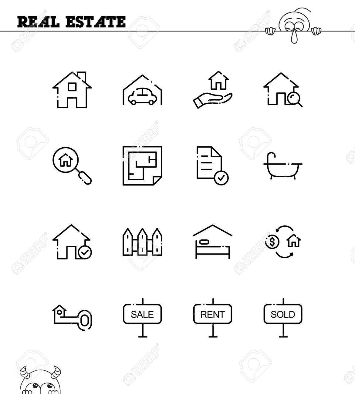 Real Estate Flat Icon Set Collection Of High Quality Outline