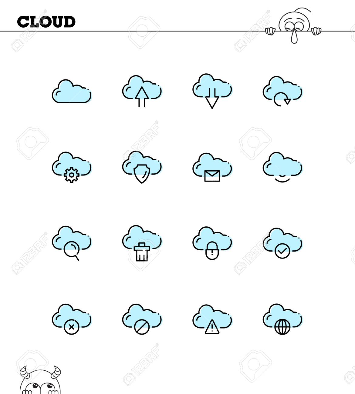Cloud Flat Icon Set Collection Of High Quality Outline Symbols For