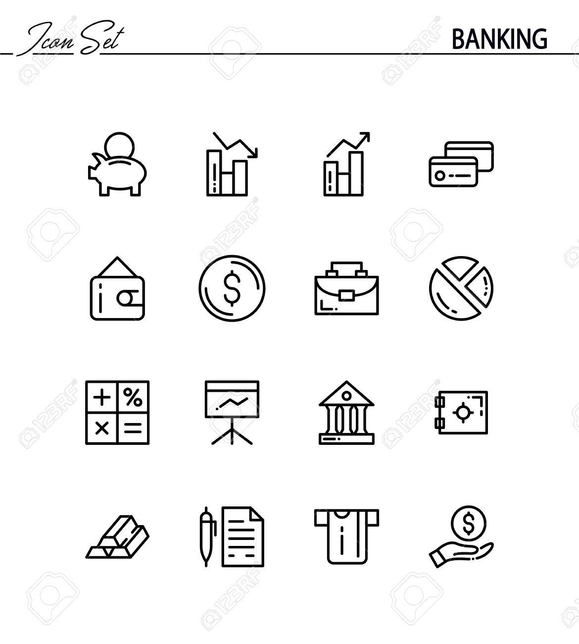 Banking flat icon set collection of high quality outline symbols banking flat icon set collection of high quality outline symbols for web design mobile biocorpaavc Gallery