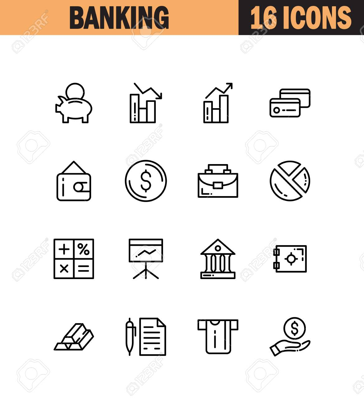 Banking Flat Icon Set Collection Of High Quality Outline Symbols