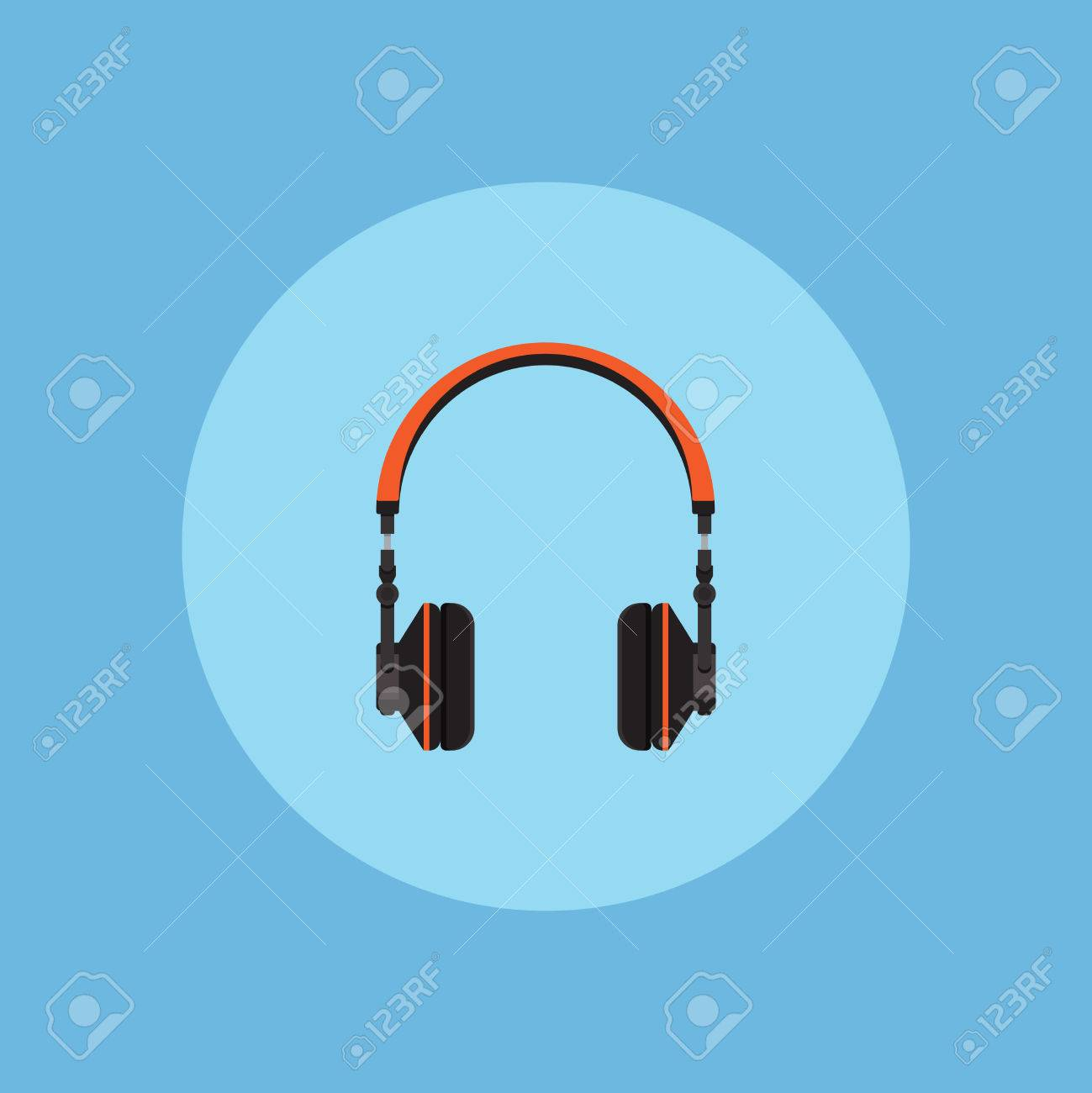 Headphones on blue background vector concept  Headset illustration
