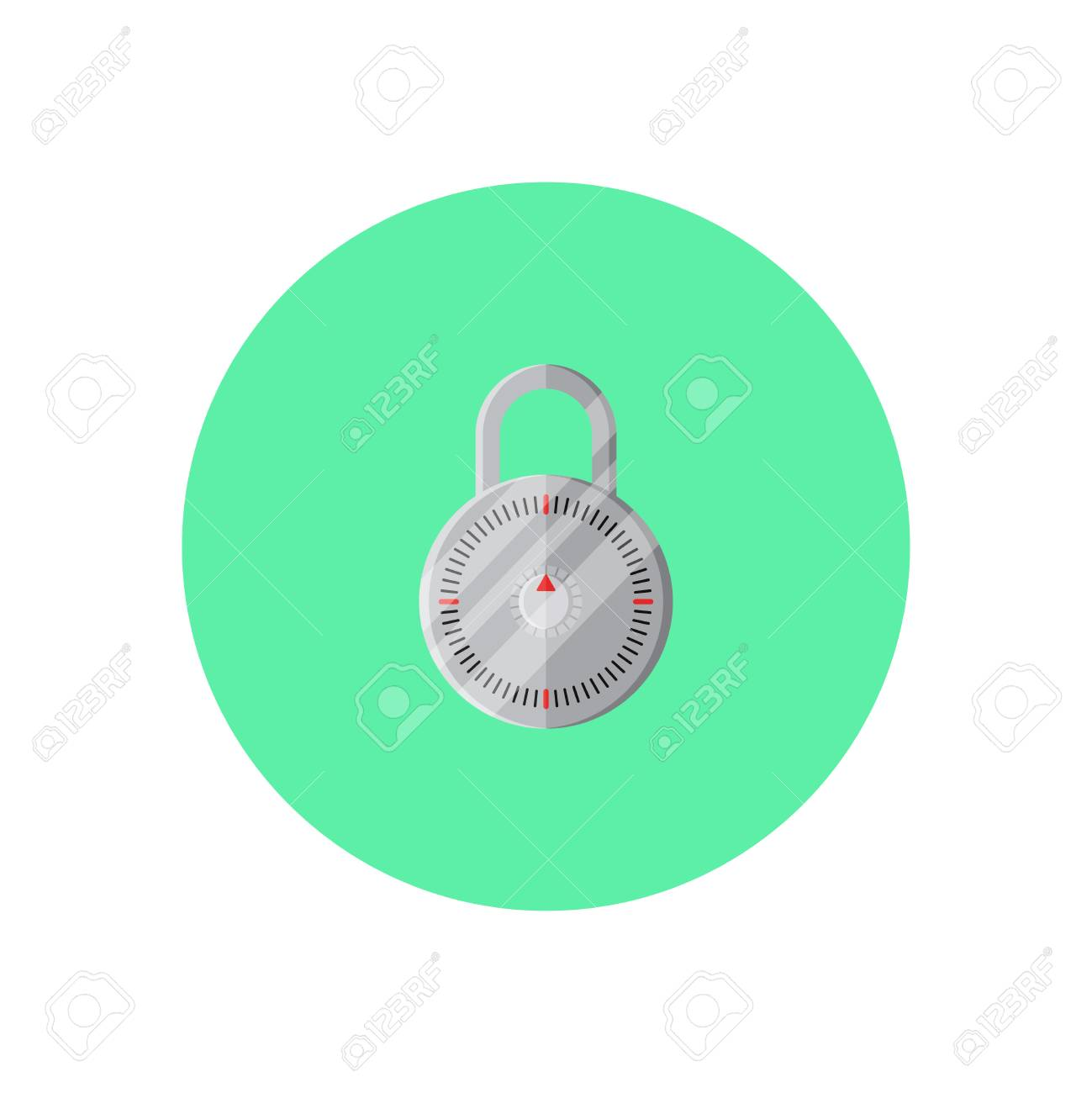 Padlock In Green Round On Background Vector Concept Lock Illustration