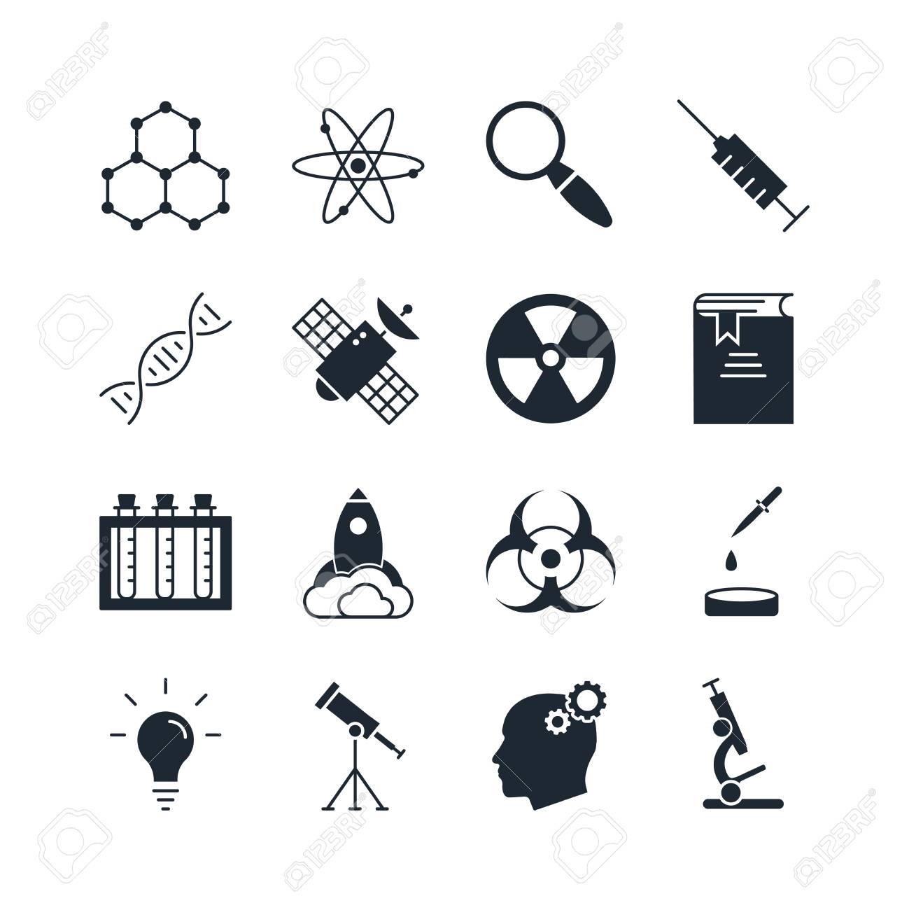 Science Icon Set. Collection Of Technology Silhouette Icons. 16 High  Quality Logo Of Lab