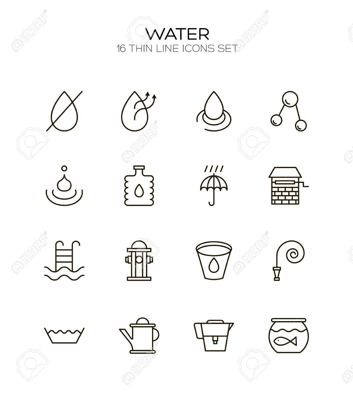 Water Icon Set Collection Of Water Drop Line Icons 16 High