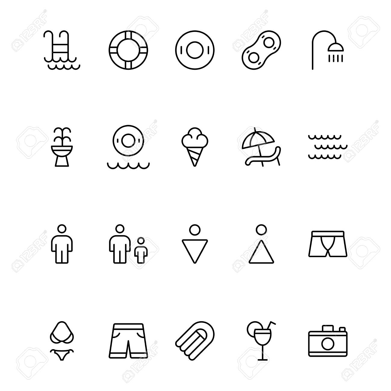 Collection Of High Quality Outline Holiday Pictograms In Modern Flat Style