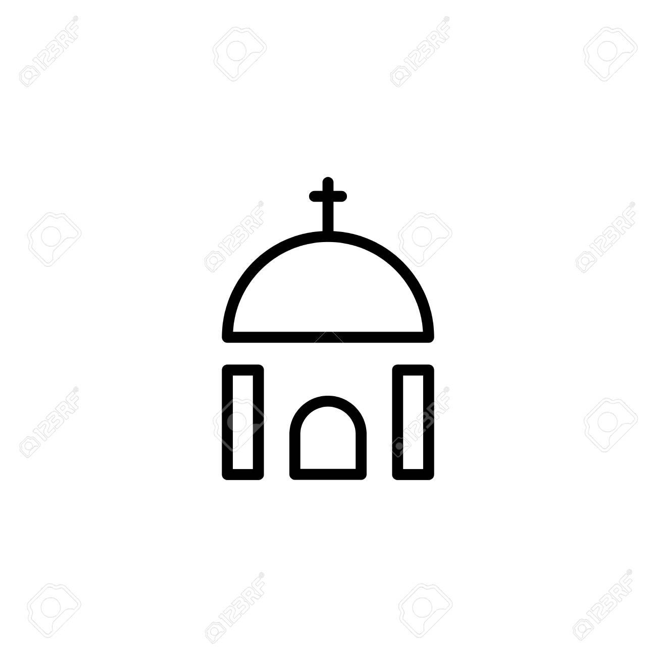 icono plano de la iglesia Único símbolo de esquema de alta calidad