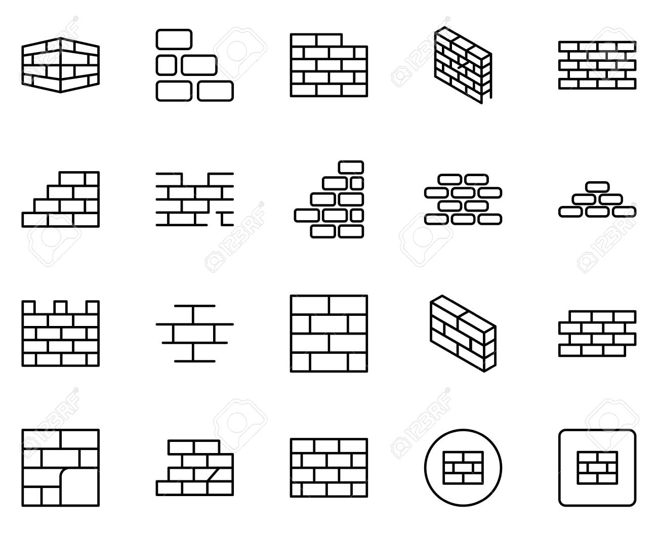 Wall icon set. Collection of high quality outline web pictograms in modern flat style. Black Wall symbol for web design and mobile app on white background. - 149102526