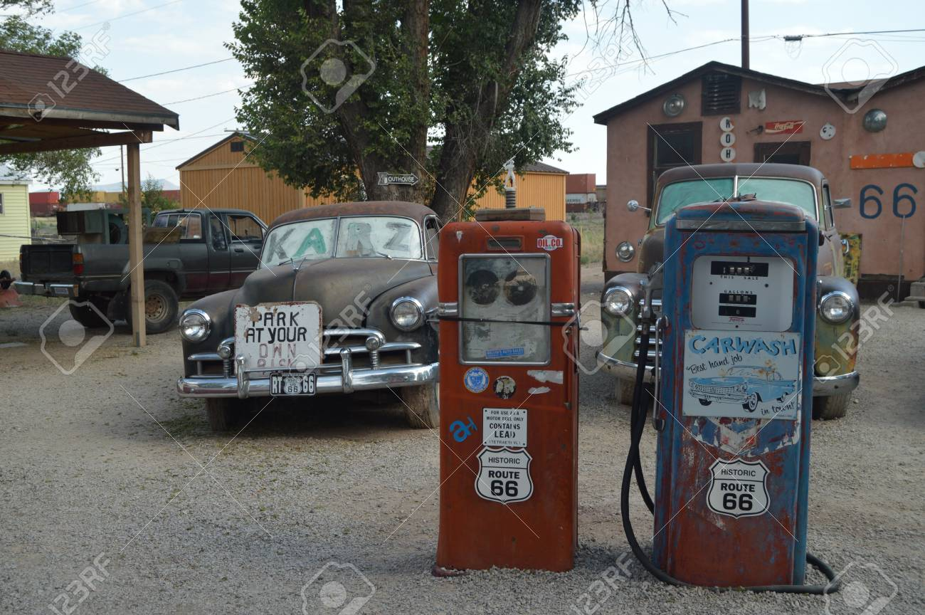 Cars And Old Gas Station At Seligman June 22 2017 Route 66 Stock Photo Picture And Royalty Free Image Image 93180368