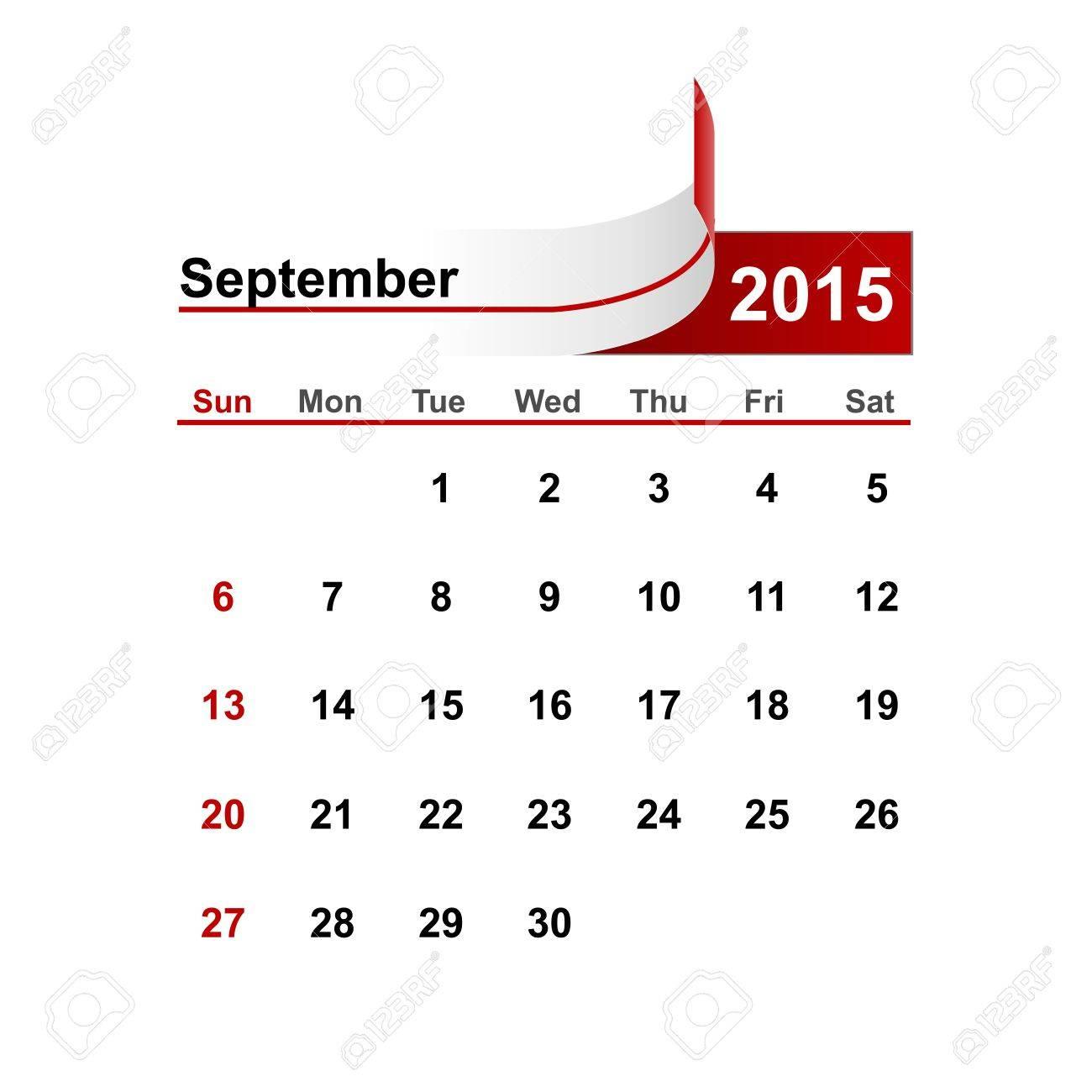 vector simple calendar 2015 year september month royalty free