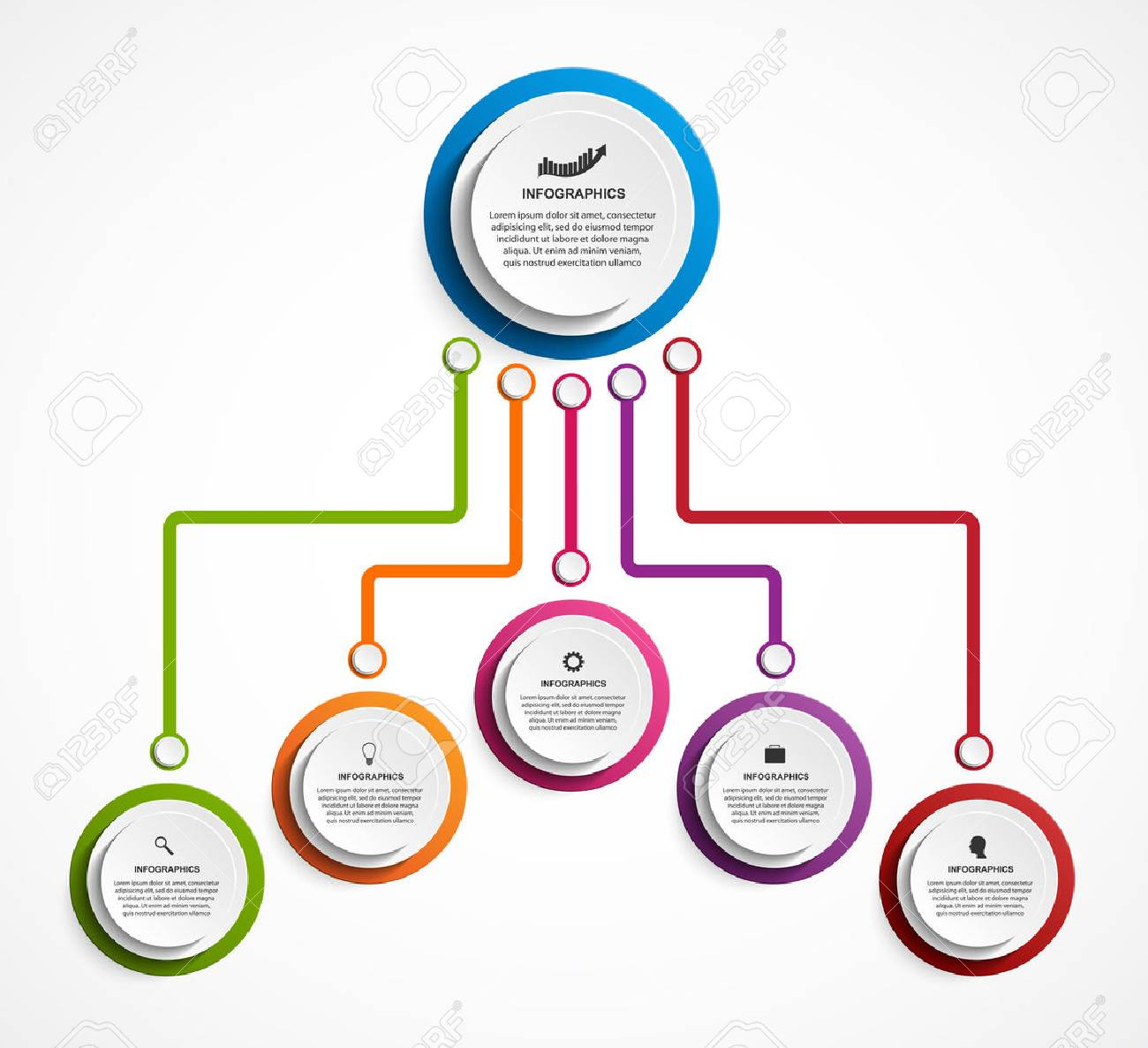 Infographic Design Organization Chart Template Royalty Free
