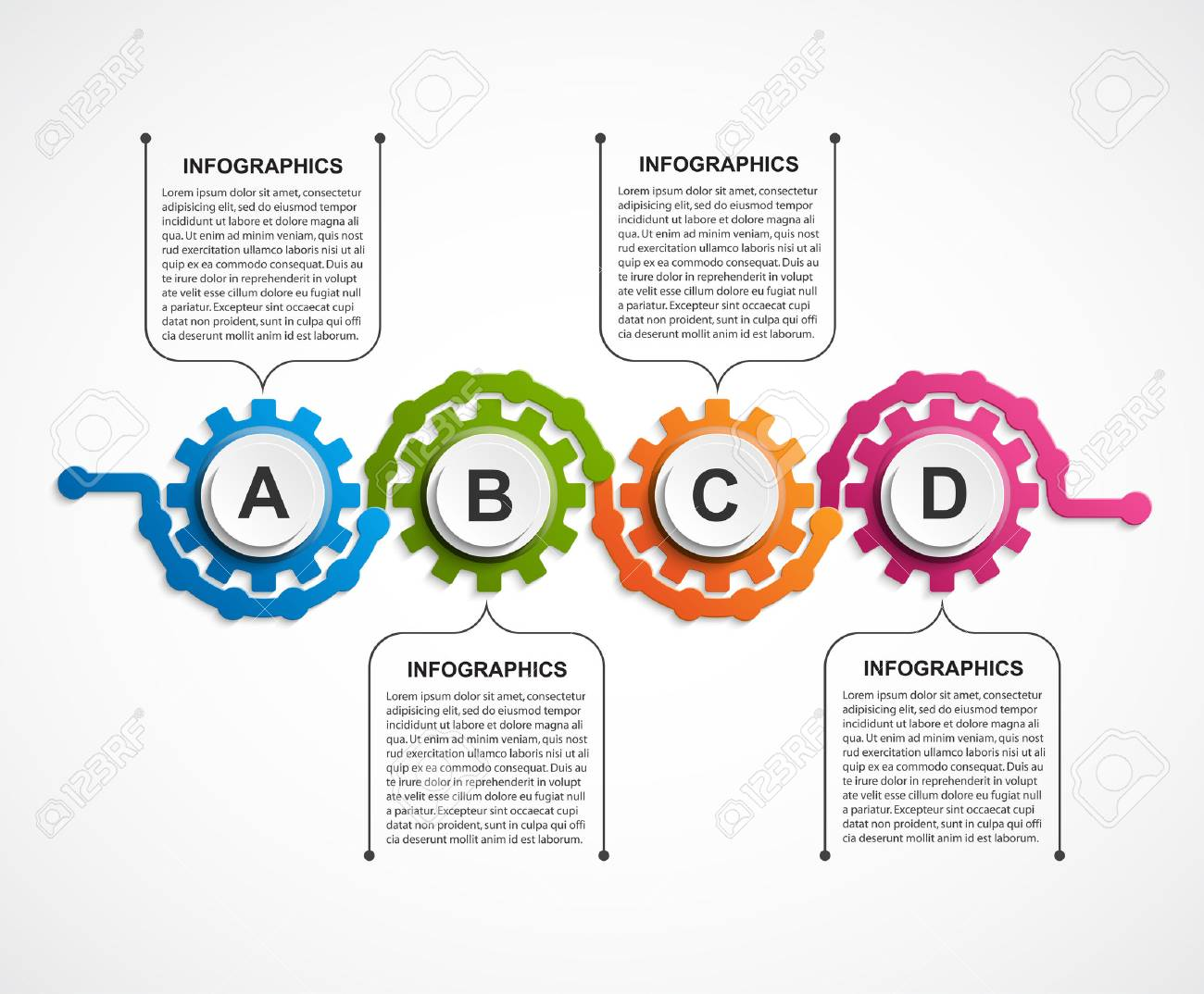 Abstract gears infographic. Design element. - 62993433