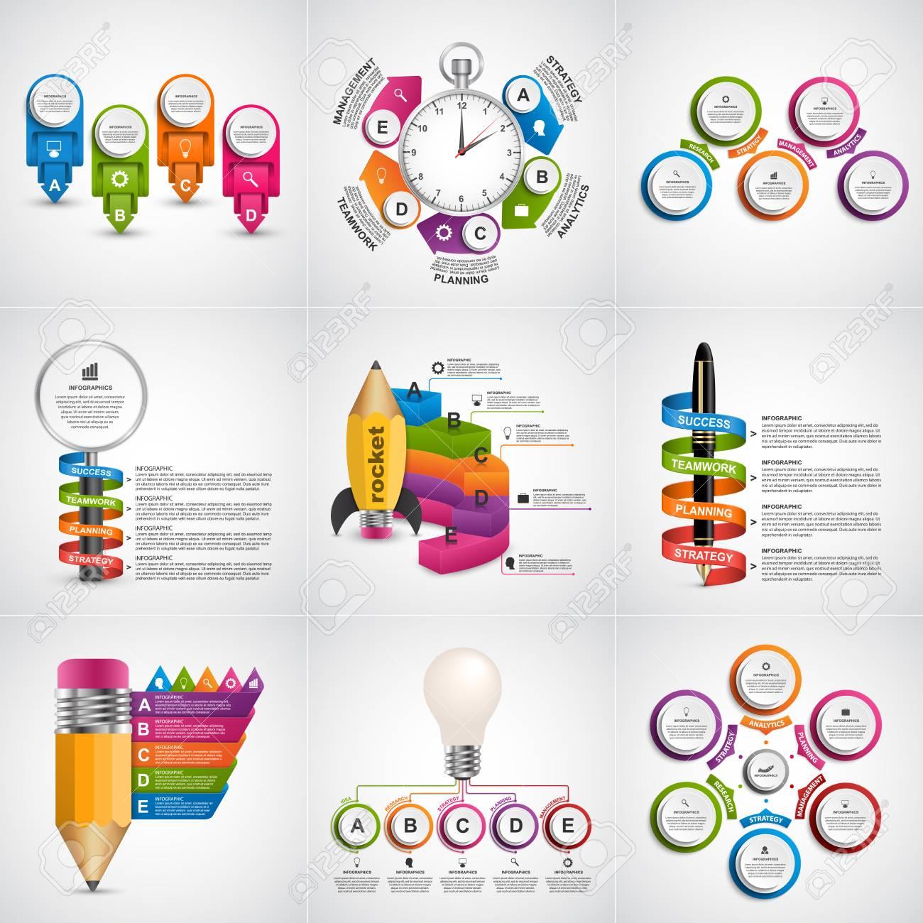 851254ea39557 Foto de archivo - Gran colección de infografía de colores. Elementos de  diseño. Infografía para presentaciones de negocios o titular de información.