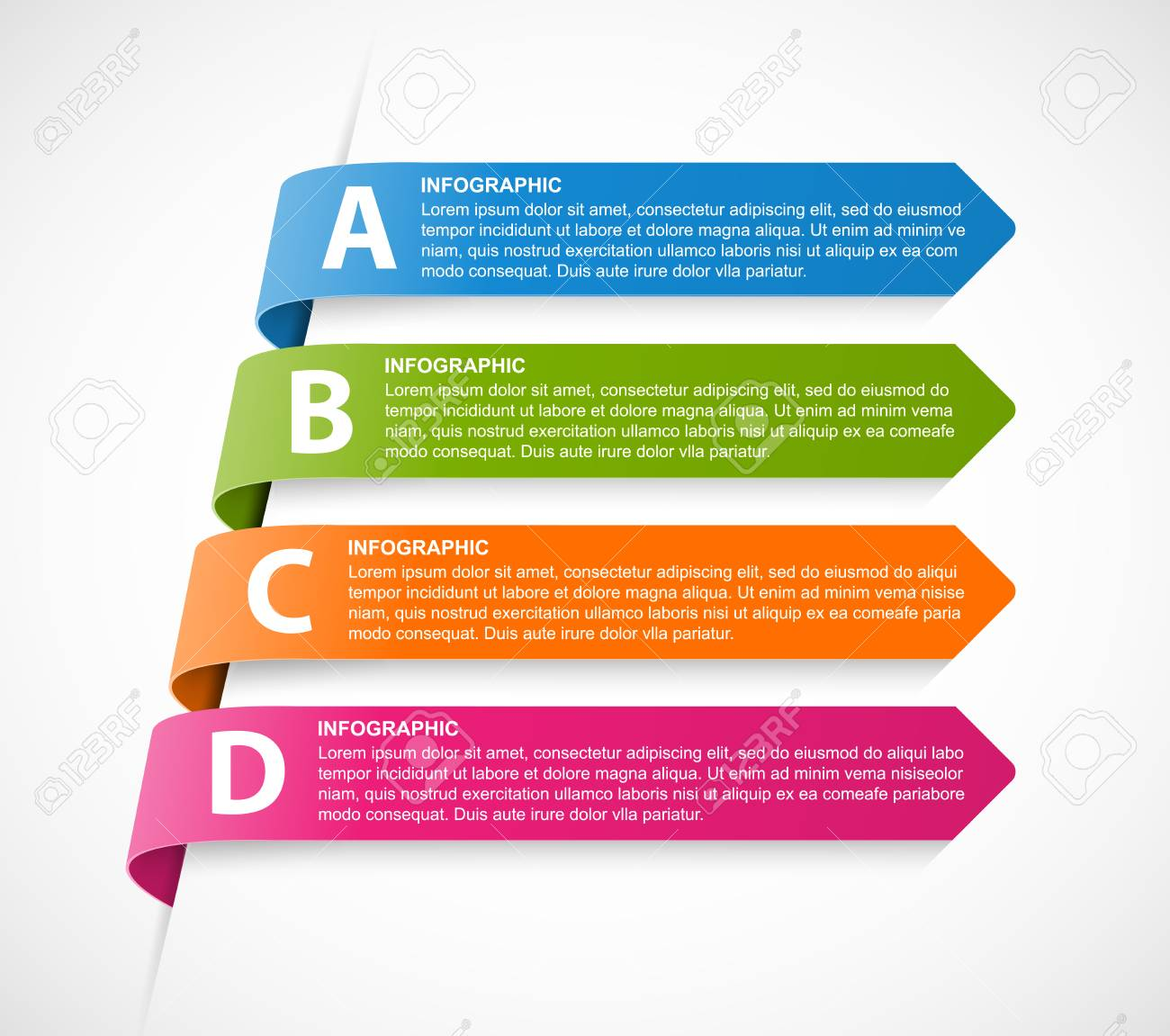 81d087e76084b Foto de archivo - Infografía plantilla para presentaciones de negocios o  titular de información. cintas de colores multicolores.